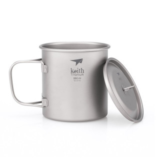 Keith Single-Wall Titanium Mug with Folding Handle